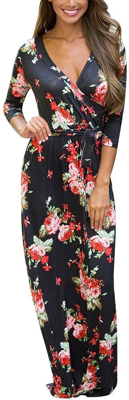 Exa Women's Summer Casual Floral Print Faux Wrap VNeck Maxi Long Dress with Belt Bohemian 3 4 Sleeve