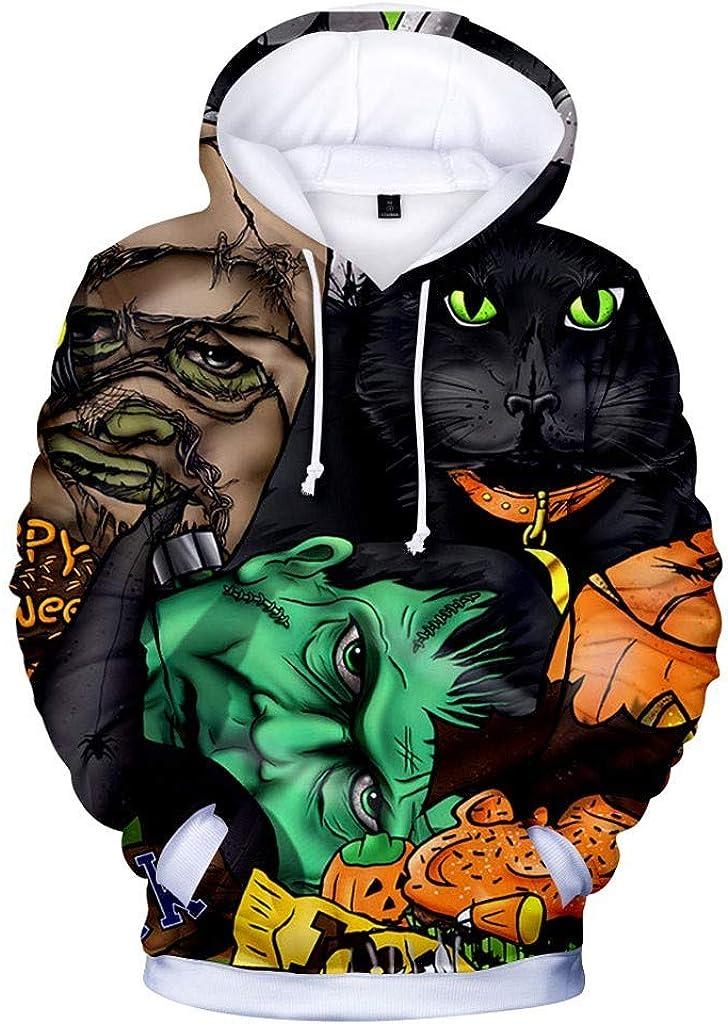 Hoodies for Men Zipper Skull,Forthery Unisex 3D Print Halloween Long Sleeve Novelty Hoodie Pullover Fleece Sweatshirt(Green,XXXL)