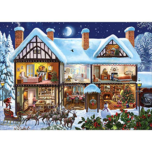 5D Diamond Painting Full Drill Christmas Snowman Couple by Number Kits, Santa Claus Xmas Cross Stitch Paint with Diamonds Embroidery Set DIY Craft Arts Home Decorations 12'x16' (Color 1)