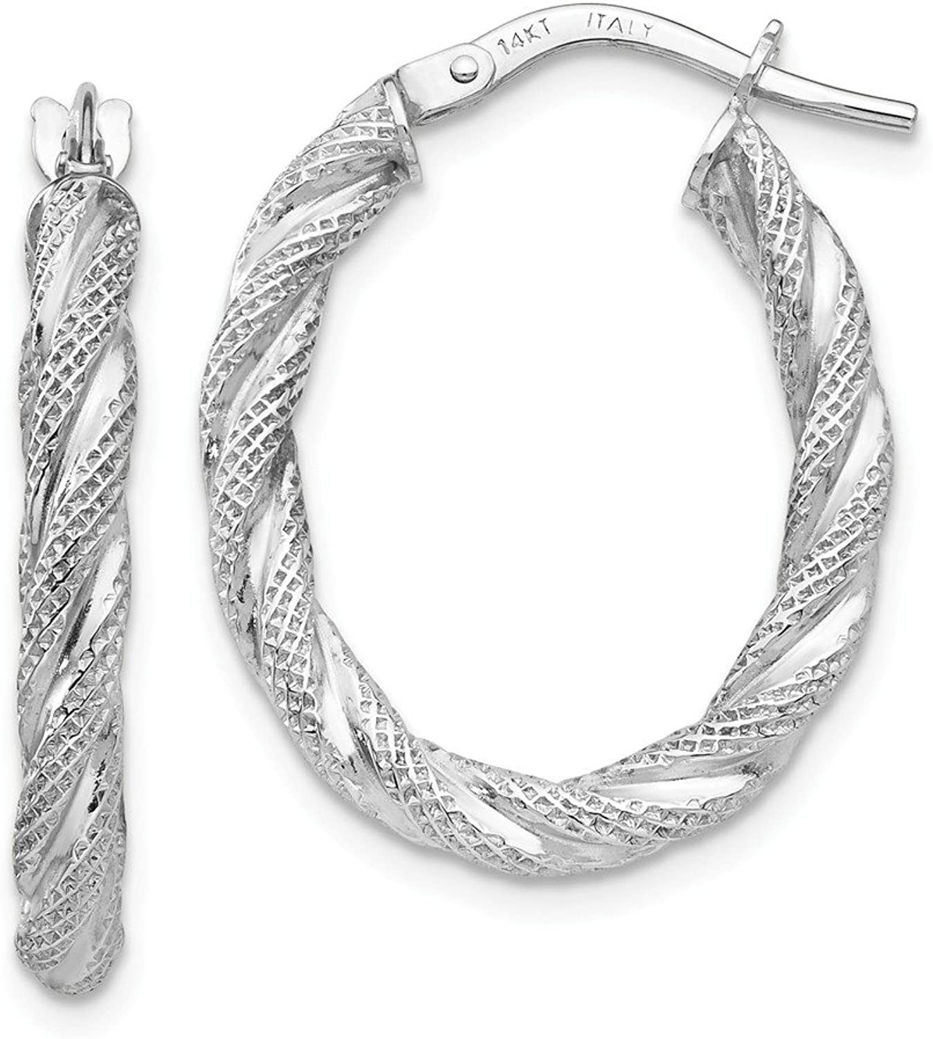 Beautiful White gold 14K 14K White gold Twisted Textured Oval Hoop Earrings