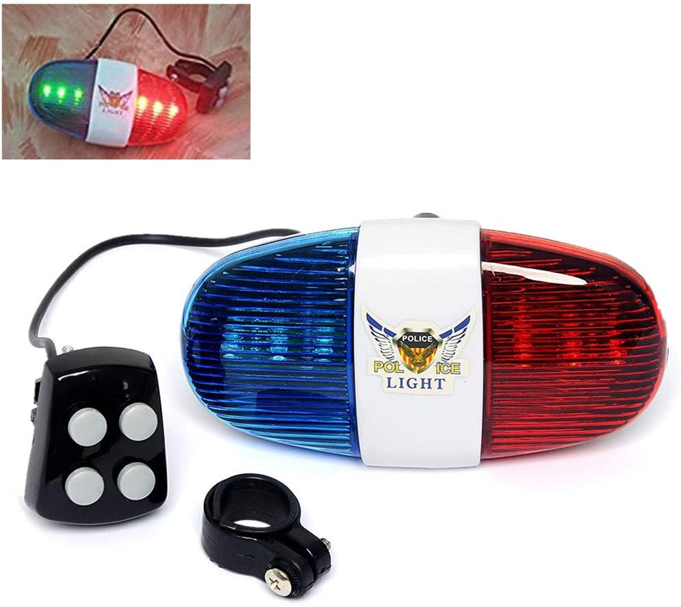 HaetFire Bicycle Police Sound Light Bike LED Light Electronic Horn Siren Horn, 6 LED Light 4 Sounds Trumpet Cycling Horn Bell Siren, Warning Safety Light Waterproof Bicycle Police Light