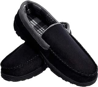 festooning Mens Microsuede Moccasin House Slippers Black 13 M US