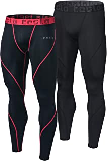 TSLA Men's (Pack of 2-MUP19) Compression Pants Baselayer Cool Dry Sports Tights Leggings MUP92
