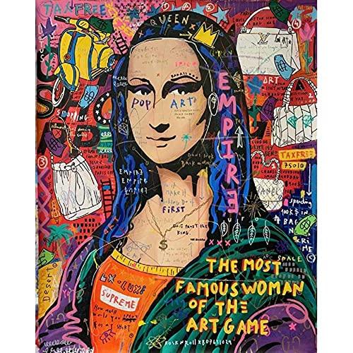 ZHXXFD Pintar Por Numeros Adultos Niños Mona Lisa Street Graffiti Cuadros Para Pintar Por Numeros Paisajes Animales Diy Paint By Numbers Kits 40X50CM(A49)