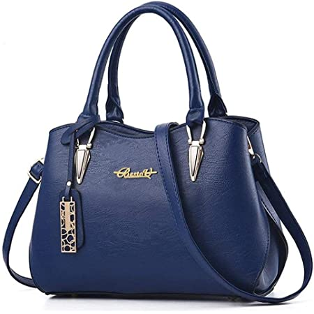 BestoU Damen Handtasche Schwarz groß Leder Damen Schultertasche Frauen Umhängetasche (Blau)