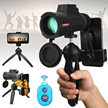 UNEGROUP Monocular Telescope, 50X60 High Power BAK4 Prism Low Night Vision Scope, Waterproof HD Telescope with Smartphone Adapter & Tripod & Remote Shutter for Bird Watching Hunting Best Gifts for Men