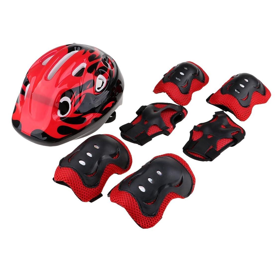 平日エントリ不当Fityle 子供 自転車 ローラースケート用 ヘルメット 膝&肘パッド 手首ガード 全4色