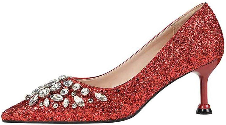 Women Pumps High Thin Heel Pointed Toe Sexy Ladies Crystal Bridal Wedding Women shoes gold High Heels