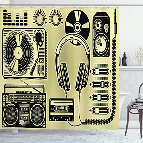 ABAKUHAUS Hiphop Duschvorhang, Plattenspieler-Kopfhörer, mit 12 Ringe Set Wasserdicht Stielvoll Modern Farbfest & Schimmel Resistent, 175x220 cm, Hellgelb & Schwarz