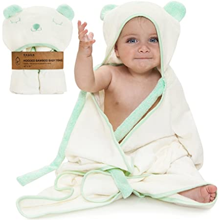 Hypoallergenic 100/% Organic Bamboo Baby Towel with Hood by Babyvybe Ultra Absorbent Quick-Dry Soft Hooded Towels for Boys and Girls