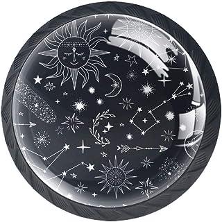 Stars Comets Suns Moon - Pomos para armario de cocina diseño de luna 4 unidades