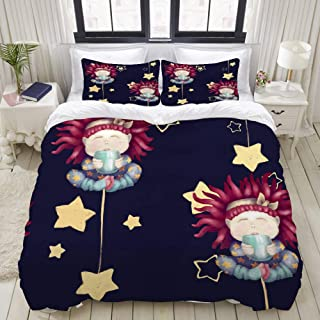 """Mokale Bedding Duvet Cover 3 Piece Set - A Red-Haired Girl Baby with A Cup Isolated On White Good Night Background - Decorative Hotel Dorm Comforter Cover with 2 Pollow Shams - Full 80""""X90"""""""