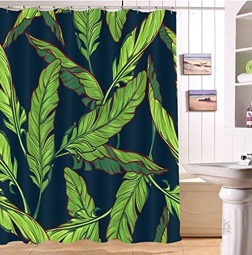Tropisches Palmblatt wasserdicht Bade-Duschvorhänge, Bananen blätter Polyester Bad Vorhang Dekor, 52, 180x200