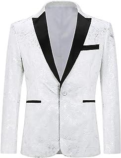 Allthemen Mens Paisley Printed Blazer Slim Fit Smart Casual Geometric Lines Dinner Suits Jacket Stylish Tuxedo