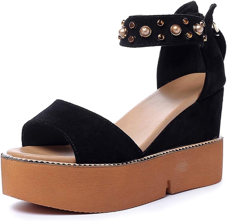Sandals Fashion Ladies Platform Sandals Personalized Summer Sandals Girls 10cm High Heels,Wedges with Wild Wedge Sandals Platform Sponge Sandals (color   Black, Size   35)