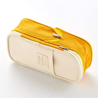 YWSCXMY-AU Macaron Color Canvas Pencil Case Elastic Double-Layer Large Capacity Stationery Pencil Case (Color : Yellow)