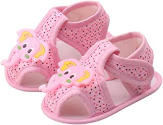 DZT1968 Baby Girl Boy Soft Sole Cartoon Elephant Prewalker Shoes Sandal