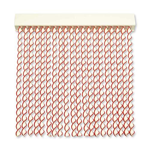 Cortinas Exterior Puerta de Cordon | 96 Tiras Plastico PVC y Barra Aluminio | Ideal para Terraza y Porche | Antimoscas | Blanco-Rojo | 210 * 120