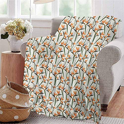 Luoiaax Spring Commercial Grade Printed Blanket Contemporary Style Birds of Paradise Flowers Tropical Garden Blossoms Bedding Plants Queen King W57 x L74 Inch Multicolor