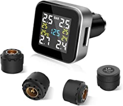 Tire Pressure Monitoring System TPMS RV Wireless Tire Pressure with 4pcs Sensors (0-6.0 BAR/0-87 PSI) and 2.1A USB Charging Port, Real-time Displays 4 Tires' Pressure, Temperature and Alarm Function