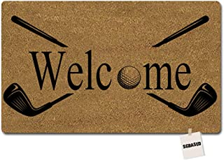 SGBASED Door Mat Funny Doormat Welcome Golf Design Mat Washable Floor Entrance Outdoor & Indoor Rug Doormat Non-Woven Fabric (23.6 X 15.7 inches)