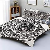 Juego de funda nórdica, símbolo adornado con encaje, motivos florales, inspirador estampado del lejano oriente decorativo, juego de cama de 3 piezas con 2 fundas de almohada, blanco negro, mejor regal