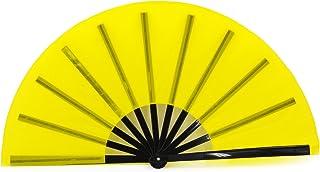 STHUAHE Ventilador Grande Plegable para Hombre Mujer, chinease/japonés de Mano, Ventilador de Baile de Rendimiento de Regalo para Festival, Amarillo