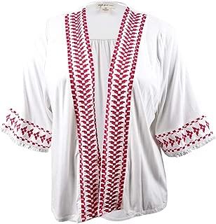 Style & Co. Womens Plus Embroidered Elbow Sleeves Kimono
