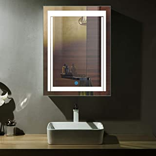 DP Home LED Illuminated Lighted Bathroom Mirror, Modern Wall Mirror with Lights, Rectangle Wall Mounted Makeup Vanity Mirror Over Cosmetic Bathroom Sink 24 x 32 in E-CK150