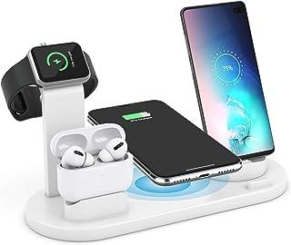 ワイヤレス充電スタンド AEOEO Airpods pro/iPhone/Apple Watch充電器 4in1 急速充電器 置くだけ充電 ワイヤレス充電器 iPhone 11 / 11 Pro/XS/XS Max/XR/ 8 / 8 Plus...