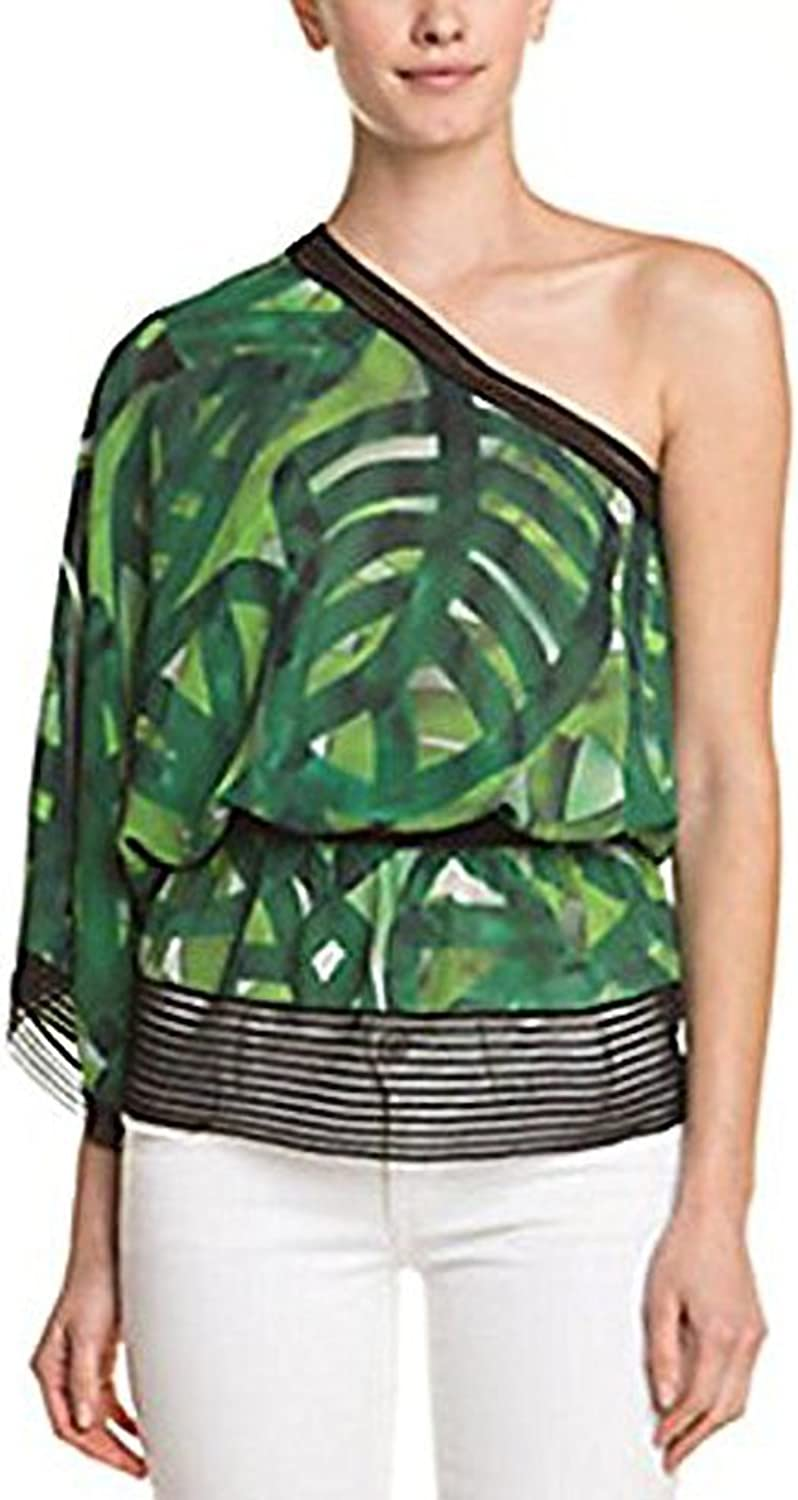 ESCADA Naana Fantasy Print Silk OneShoulder Top