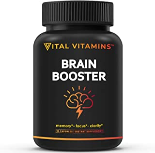Brain Supplement Nootropics Booster - Enhance Focus, Boost Concentration, Improve Memory & Clarity for Men & Women, Ginkgo...