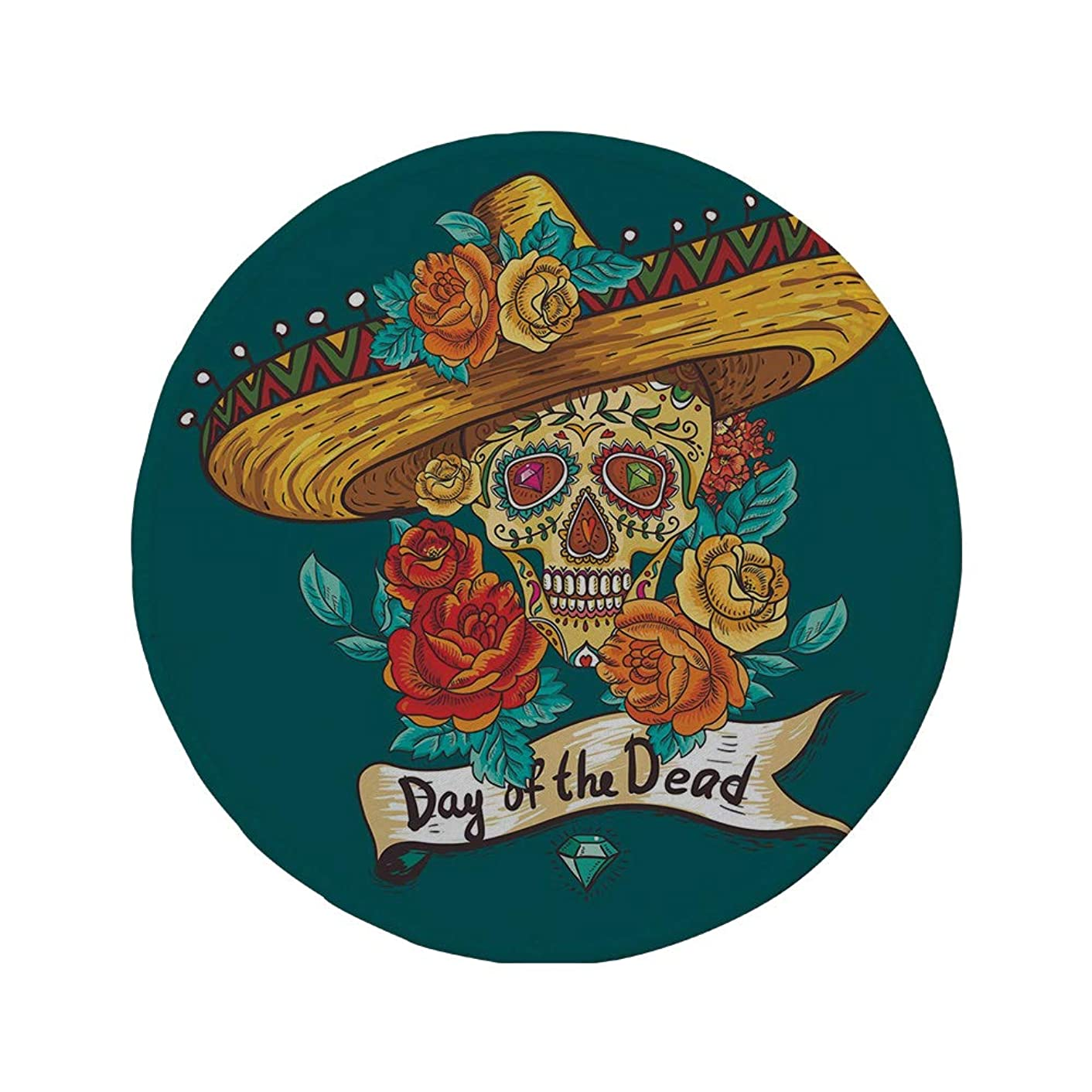 Non-Slip Rubber Round Mouse Pad,Day of The Dead Decor,Mexican Festive Hat Skull with Roses Print,Petrol Blue Turquoise Orange Marigold,7.87
