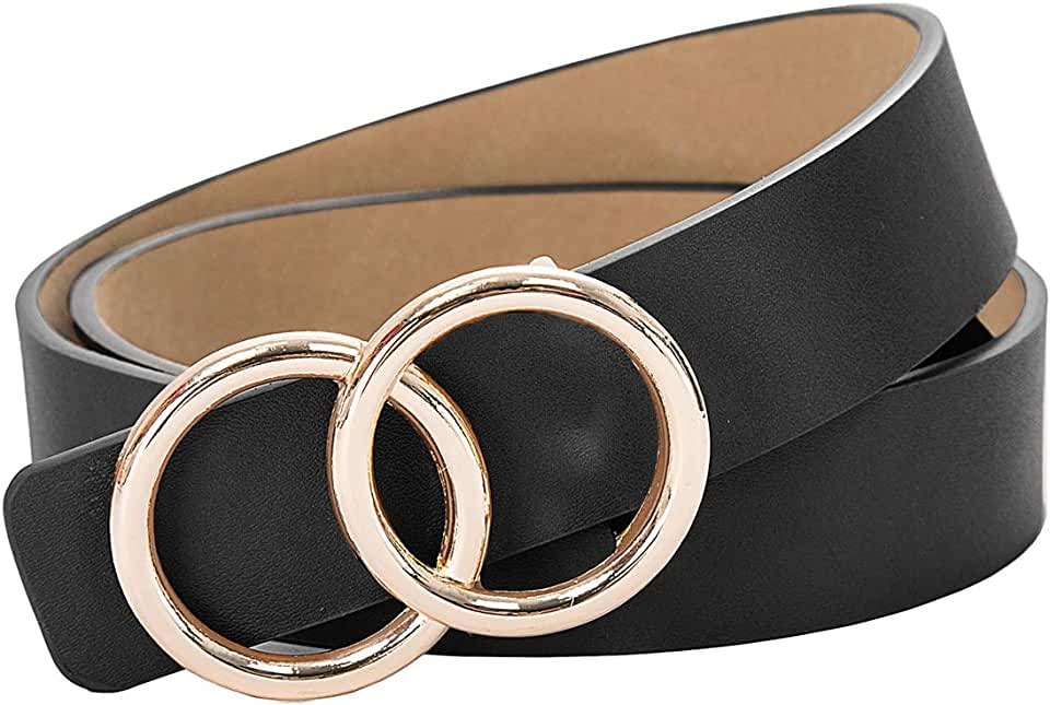 Kate Kasin Women's Leather Belt Fashion Soft Faux Leather Waist Belts with Double O-Ring Buckle