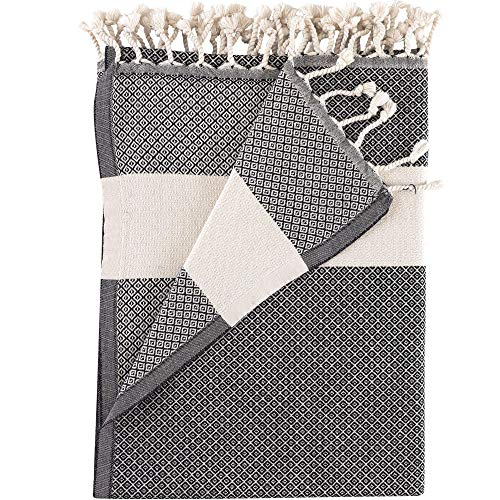 Hammam Linen 100% Cotton Bath Towels Soft and Absorbent, Premium Quality (Turkish Beach Towels, Cool Grey)
