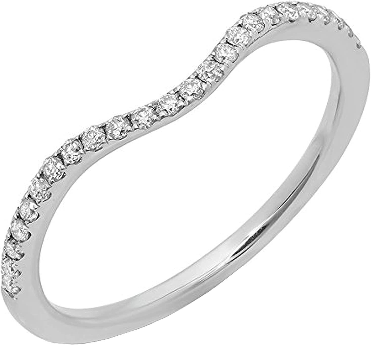 Dazzlingrock Collection 0.30 Carat (ctw) Round White Cubic Zirconia Guard Anniversray Wedding Band 1/3 CT, 10K Gold