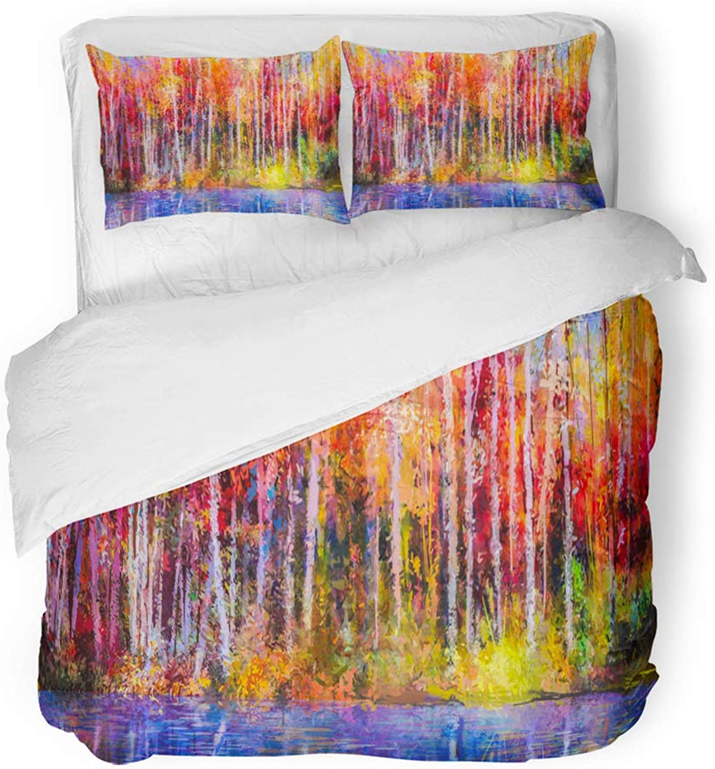 Emvency Decor Duvet Cover Set Twin Size Oil Painting colorful Autumn Trees Semi Abstract of Forest Aspen Yellow Red 3 Piece Brushed Microfiber Fabric Print Bedding Set Cover