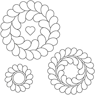 """Quilting Creations Feather Circles Quilting Stencil Set, 7""""/5.5""""/4"""", 3 Pack"""