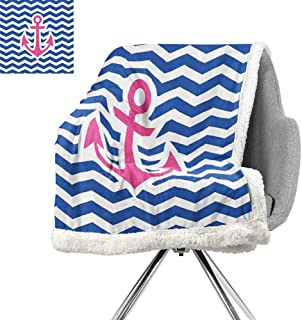 Anchor Decor Collection Throw Blanket,Simple Horizontal Zig Zag Geometric Pattern Welcoming Maritime Stripes Artwork Design,Cobalt Magenta,Lightweight All-Season Blanket W59xL78.7 Inch