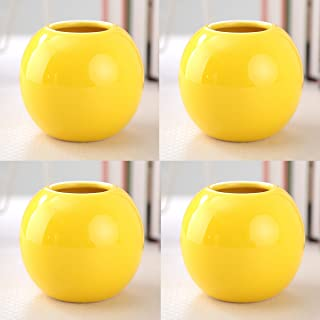 Set of 4 Vases Ceramic Plants Succulent Planter Pots Mini Decorative Bud Vase Garden Home Accent Gloss Colored Various 7 Colors (Set of 4 Yellow)