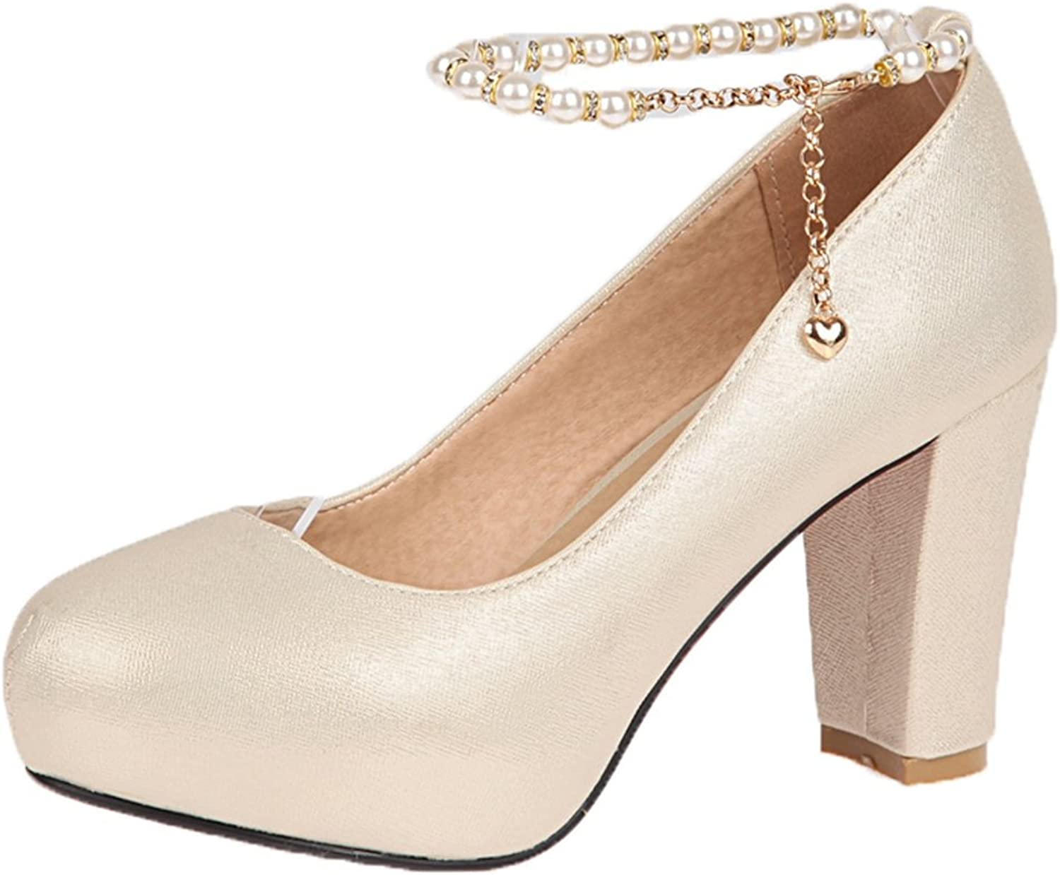 SaraIris Women's Chunky High Heel Pearl Ankle Strap Party Wedding Pumps