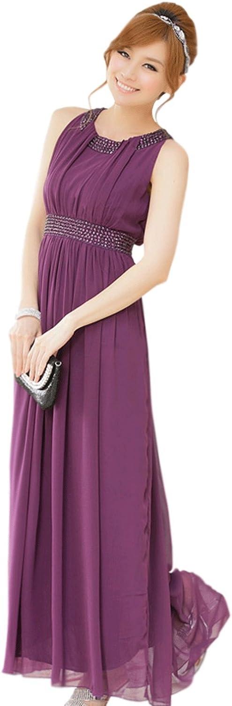 Unomatch women Round Beads Stitched Neck and Waist Style Prom Night Dress Purple