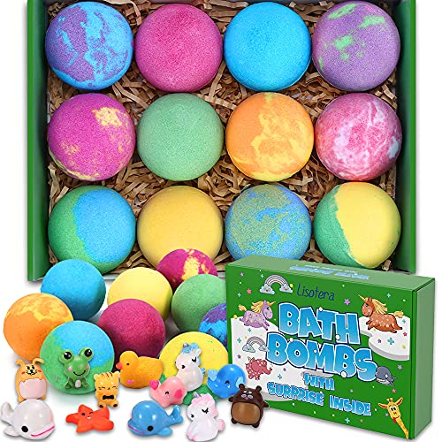 Bath Bombs for Kids with Toys Inside - 12 Surprise Gift Set for Girls Boys, Bubble Bath Fizzies Vegan Essential Oil Spa Fizz Balls Kit Kids Safe (Package May Vary)
