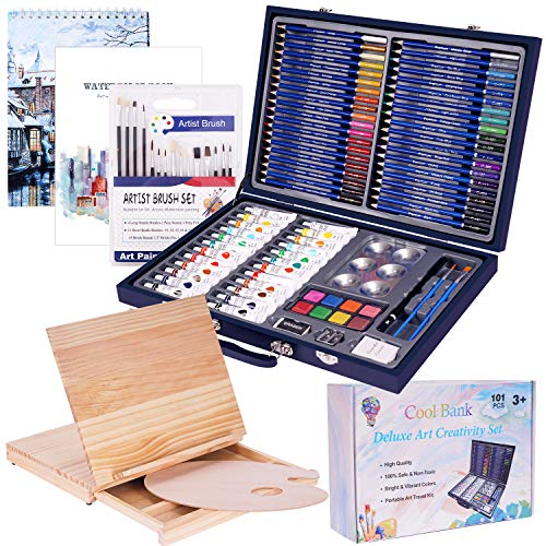 101 Piece Professional Art Set with Wooden Drawing Easel and 2 Drawing Pads, Deluxe Art Set in Portable Wooden Case-Painting & Drawing Set Professional Art Kit for Kids, Teens and Adults/Gift