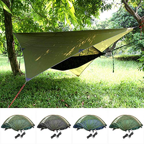 ERTYUI Camping-Hängematte mit Moskitonetz, wasserdichten Baldachinen und Hängematten-Set, Outdoor, Camping, tragbarer Sonnenschutz armee-grün