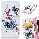 Yiizy Etui Coque Huawei Y5 (2017) / Y5 3, Papillon Bleu Design Pochette Housse Cuir Flip Cover...