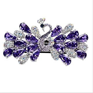 JCZW. Peacock hairpin hairpin headdress large crystal sandwiched Masson clip spring holder top plate made of jewelry diamo...