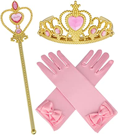 Princess Belle Yellow Dress up Party Accessories 4 Set Gloves Tiara Wand and Necklace