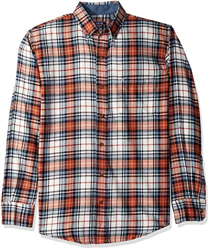 IZOD Men's Stratton Long Sleeve Button Down Plaid Flannel Shirt, Vanilla ice, Large