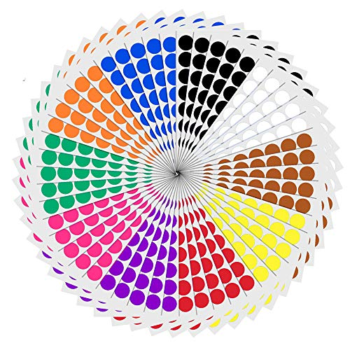 2cm Etichette Adesive Bollini Colorati Rotonde - 10 Colori, 2000 Pezzi